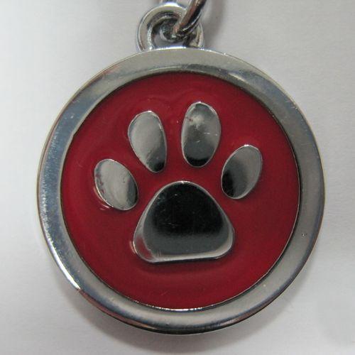 金屬-紅色狗掌形狀寵物牌